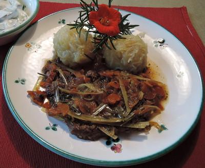 Lauch-Schopfbraten mit Waldviertler Knödel Rezept