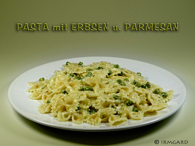 Pasta mit Erbsen und Parmesan Rezept