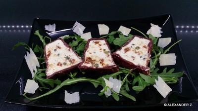 Parmesanterrine im Bresaola - Mantel Rezept