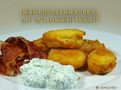 Kartoffelkrapferl mit Wildkräuterdip Rezept