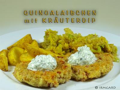 Quinoalaibchen mit Kräuterdip Rezept