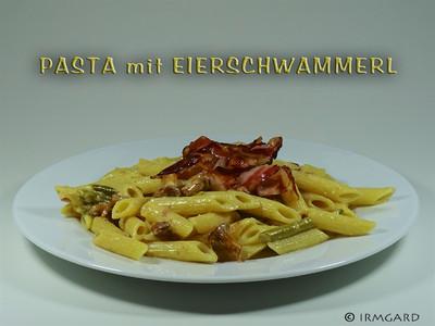 Pasta mit Eierschwammerl, Fisolen und Speck Rezept