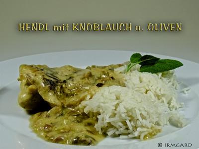 Hendl mit Knoblauch und Oliven Rezept