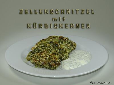 Zellerschnitzel mit Kürbiskernen Rezept