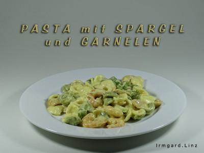 Pasta mit Spargel und Garnelen Rezept