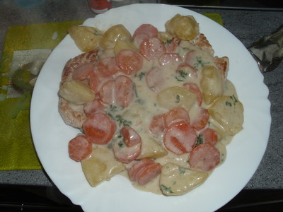 Schnitzel mit Karottenragout Rezept