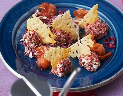 Frischkäsepralinen mit karamellisierten Cocktailparadeisern Rezept