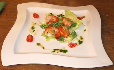 Garnelen auf Blattsalaten Rezept
