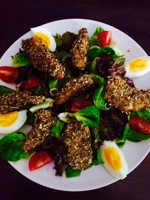 Hühnerstreifen in Kürbiskern Panade Rezept