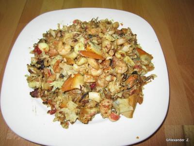 Meeresfrüchte mit gebratenem Reis  Rezept