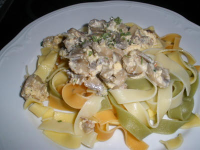 Tagliatelle mit Champignons, Speck und Morzarella Rezept