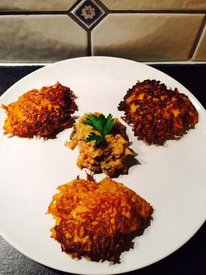 Süßkartoffel Rösti mit Zwiebelsenf Rezept